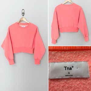 TNA Perkins Coral Women's Cropped Sweatshirt - SM